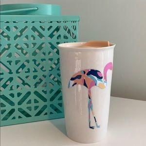 Lily print flamingo decal on ceramic mug with lid